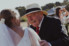 photograph of brides grandfather congratulating her after wedding ceremony on south coast nsw