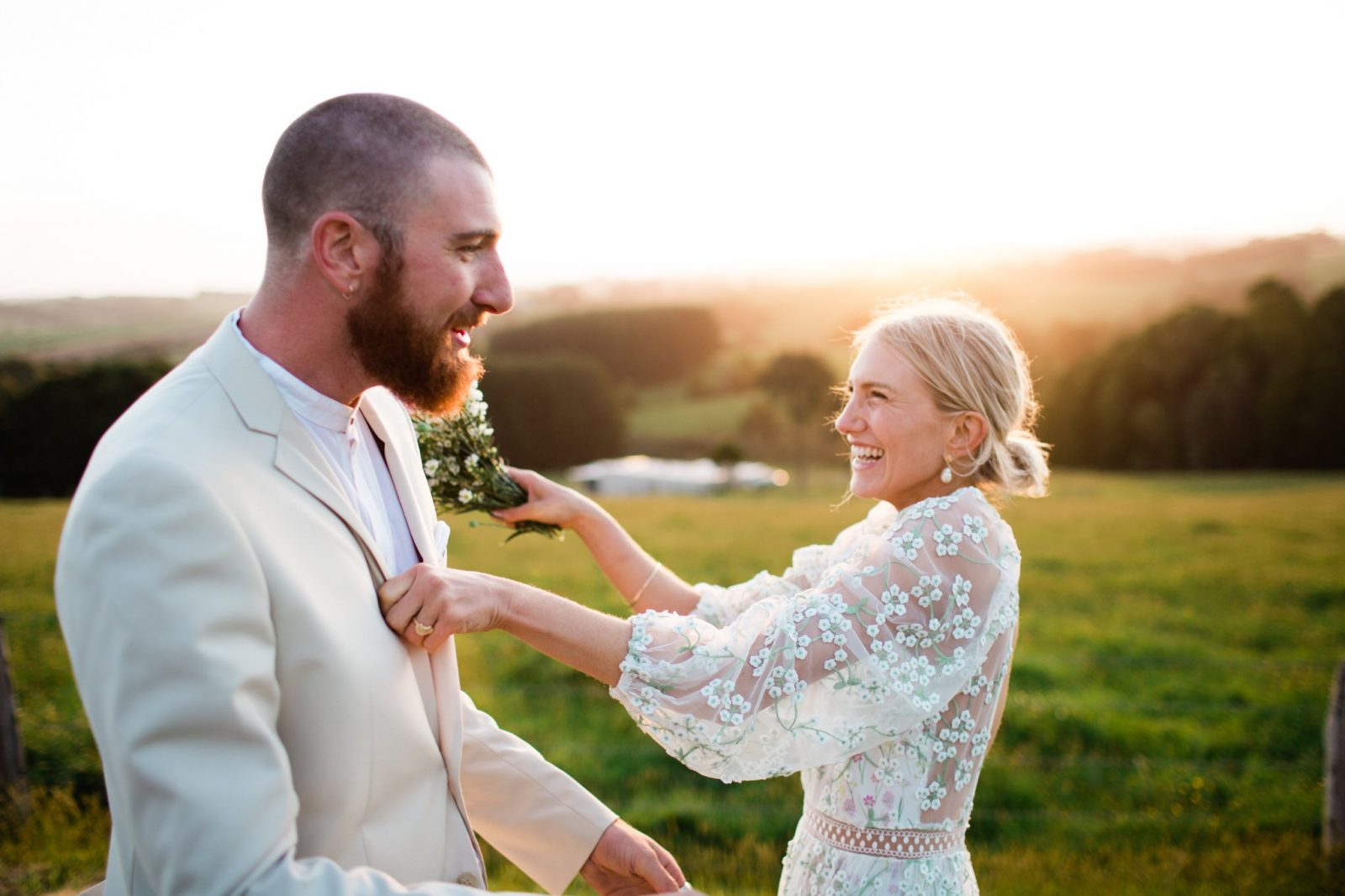 Photograph of happy couple on their unique wedding day NSW