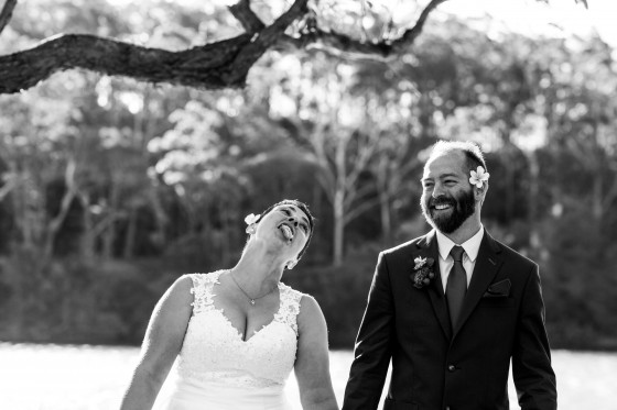 photograph of silly couple during ceremony at wedding on the nsw south coast