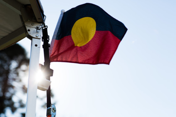 Photograph of indigenous flag at Firesticks Workshop at Bundanon Trust in Illaroo on the South Coast of NSW