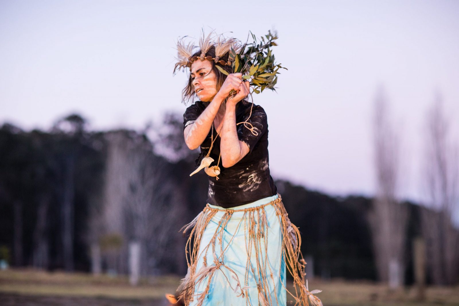 Photograph of Djaadjawan Dancers of Yuin Country performing at Firesticks Workshop at Bundanon Trust in Illaroo on the South Coast of NSW