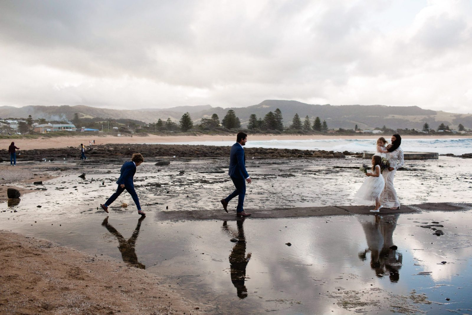 post wedding ceremony family photographs at gerringong beach nsw